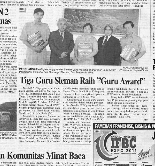Heru Wahyudi, S.Pd.,M.Eng. Raih Penghargaan Guru Award UNY 2011